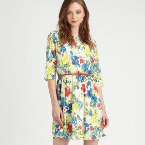 Alice + Olivia Grier Silk Floral 3/4 Sleeve Dress